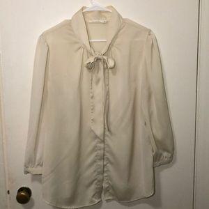 Cream Bow Tie Blouse